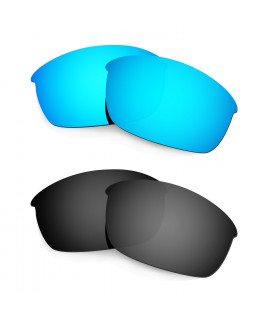 HKUCO Blue+Black Polarized Replacement Lenses for Oakley Flak Jacket Sunglasses