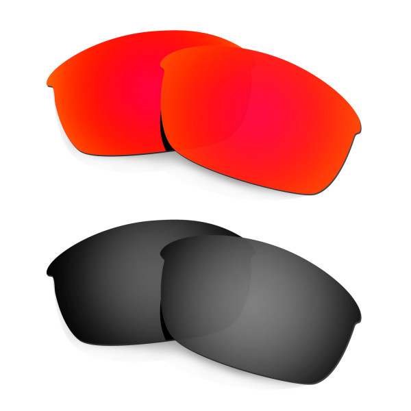 HKUCO Red+Black Polarized Replacement Lenses for Oakley Flak Jacket Sunglasses