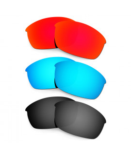 HKUCO Red+Blue+Black Polarized Replacement Lenses for Oakley Flak Jacket Sunglasses