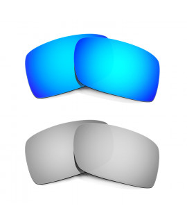 Hkuco Mens Replacement Lenses For Oakley Gascan Blue/Titanium Sunglasses