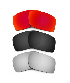 Hkuco Mens Replacement Lenses For Oakley Gascan Red/Black/Titanium Sunglasses