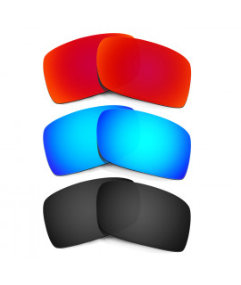 New HKUCO Red+Blue+Black Polarized Replacement Lenses For Oakley Gascan Sunglasses