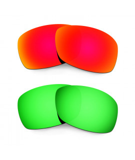 Hkuco Mens Replacement Lenses For Oakley Hijinx Red/Emerald Green Sunglasses