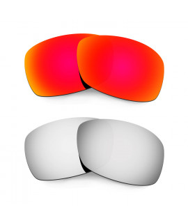 Hkuco Mens Replacement Lenses For Oakley Hijinx Red/Titanium Sunglasses