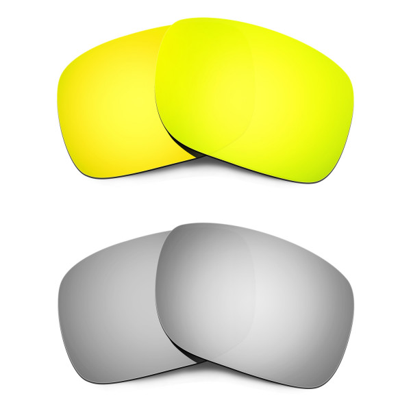 HKUCO 24K Gold+Titanium Mirror Polarized Replacement Lenses for Oakley Holbrook Sunglasses