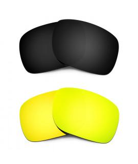HKUCO Black+24K Gold Polarized Replacement Lenses for Oakley Holbrook Sunglasses
