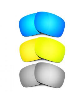 HKUCO Blue+24K Gold+Titanium Mirror Polarized Replacement Lenses for Oakley Holbrook Sunglasses