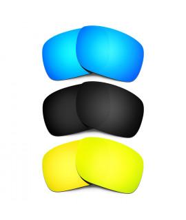 HKUCO Blue+Black+24K Gold Polarized Replacement Lenses for Oakley Holbrook Sunglasses