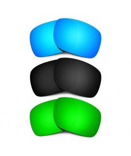 HKUCO Blue+Black+Emerald Green Polarized Replacement Lenses for Oakley Holbrook Sunglasses