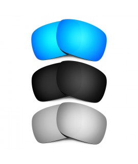 HKUCO Blue+Black+Titanium Mirror Polarized Replacement Lenses for Oakley Holbrook Sunglasses