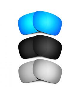 HKUCO Blue+Black+Titanium Mirror Polarized Replacement Lenses for Oakley Holbrook Sunglasses