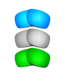 HKUCO Blue+Titanium+Emerald Green Polarized Replacement Lenses for Oakley Holbrook Sunglasses