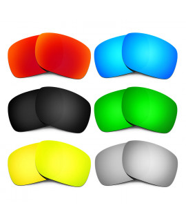 HKUCO Red+Blue+Black+24K Gold+Titanium+Emerald Green Polarized Replacement Lenses for Oakley Holbrook Sunglasses