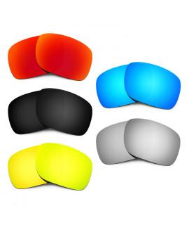 HKUCO Red+Blue+Black+24K Gold+Titanium Polarized Replacement Lenses for Oakley Holbrook Sunglasses