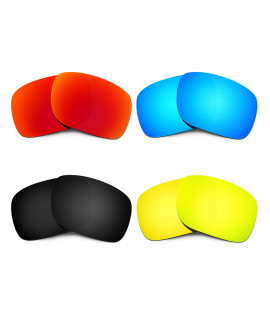 HKUCO Red+Blue+Black+24K Gold Polarized Replacement Lenses for Oakley Holbrook Sunglasses