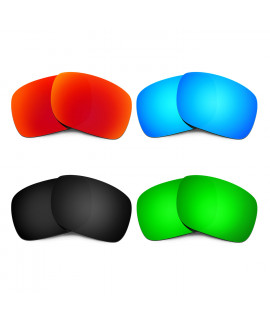 HKUCO Red+Blue+Black+Emerald Green Polarized Replacement Lenses for Oakley Holbrook Sunglasses