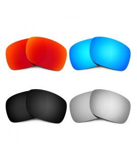 HKUCO Red+Blue+Black+Titanium Polarized Replacement Lenses for Oakley Holbrook Sunglasses