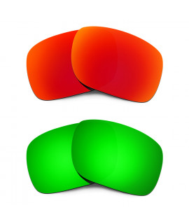 HKUCO Red+Emerald Green Mirror Polarized Replacement Lenses for Oakley Holbrook Sunglasses