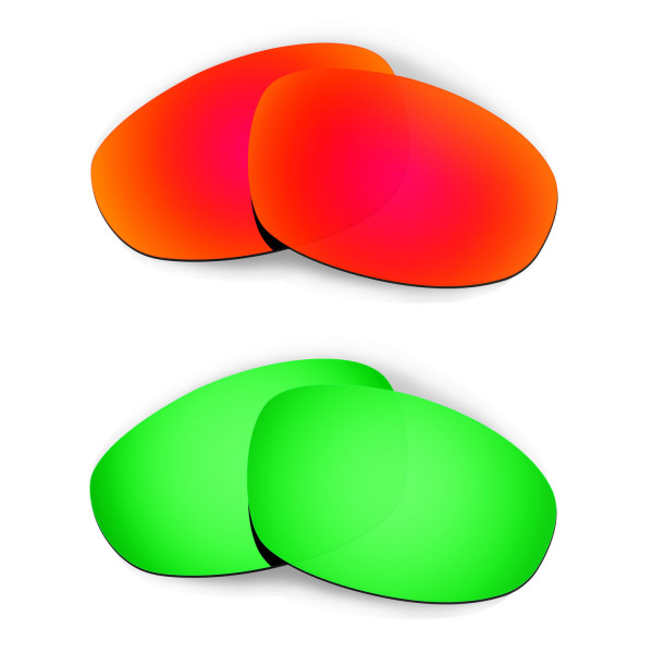 HKUCO Red+Emerald Green Polarized Replacement Lenses for Oakley Juliet Sunglasses