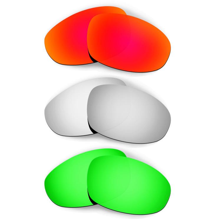 41909c536c0e6 HKUCO Red+Titanium+Emerald Green Polarized Replacement Lenses for Oakley  Juliet Sunglasses