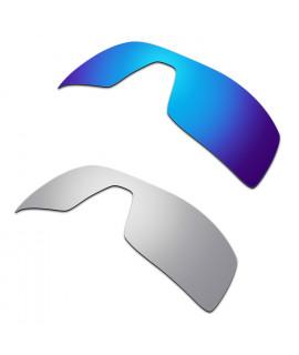 Hkuco Mens Replacement Lenses For Oakley Oil Rig Blue/Titanium Sunglasses