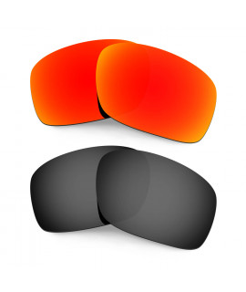 HKUCO Red+Black Polarized Replacement Lenses for Oakley Scalpel Sunglasses