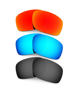 HKUCO Red+Blue+Black Polarized Replacement Lenses for Oakley Scalpel Sunglasses