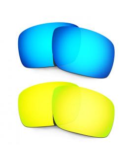 Hkuco Mens Replacement Lenses For Oakley Triggerman Blue/24K Gold Sunglasses