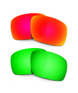 Hkuco Mens Replacement Lenses For Oakley Triggerman Red/Emerald Green Sunglasses