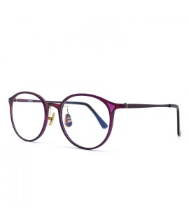 HKUCO Prescription Glasses Classic Stylish Frame Glasses Purple Circle Frame (Multiple Lens Color Options)
