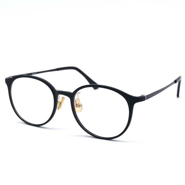 HKUCO Classic Stylish Clear Lens Frame Glasses Black Circle Frame (Multiple Lens Color Options)