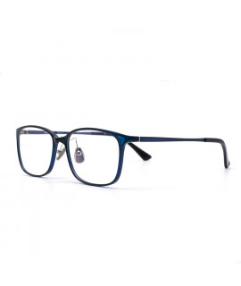 HKUCO Glasses Casual Horned Rim Rectangular Blue Frame Eye Glasses (LENSES: Demo lenses - Non Prescription)