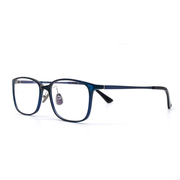 HKUCO Prescription Glasses Casual Horned Rim Rectangular Blue Frame Eye Glasses (Multiple Lens Color Options)