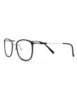 HKUCO Glasses Casual Slender Square Black Frame Glasses (LENSES: Demo lenses - Non Prescription)