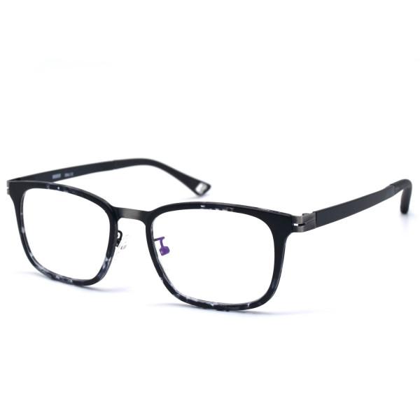 HKUCO Fashion Horned Rim Rectangular Black Frame Clear Lens Eye Glasses (Multiple Lens Color Options)