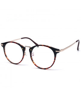HKUCO High Quality Special Print Clear Lens Frame Glasses Circle Frame (LENSES: Demo lenses - Non Prescription)
