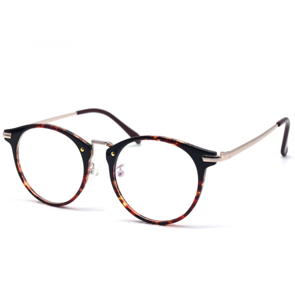 HKUCO High Quality Special Print Clear Lens Frame Glasses Circle Frame (multiple Lens Color Options)