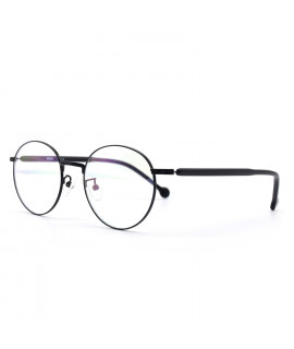 HKUCO Glasses Black Metal Frame Eyewear Glasses (LENSES: Demo lenses - Non Prescription)