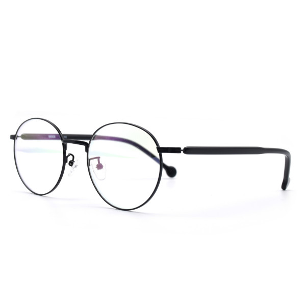 HKUCO Prescription Glasses Black Metal Frame Eyewear Glasses (Multiple Lens Color Options)