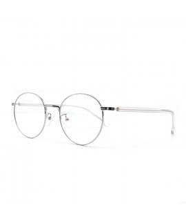 HKUCO Glasses Silver Color Metal Frame Eyewear Glasses (LENSES: Demo lenses - Non Prescription)
