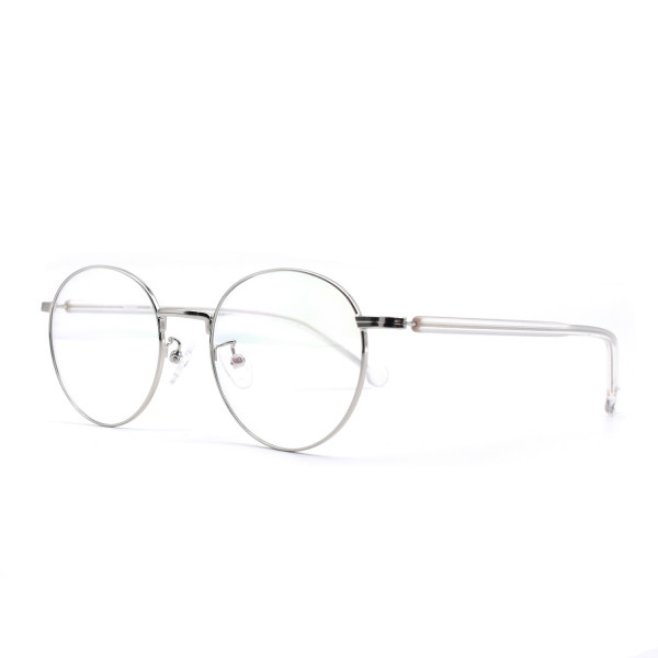 HKUCO Prescription Glasses Silver Color Metal Frame Eyewear Glasses (Multiple Lens Color Options)