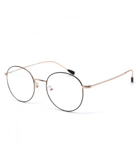 HKUCO Black/Gold Metal Frame Clear Lens Eyewear Glasses (LENSES: Demo lenses - Non Prescription)
