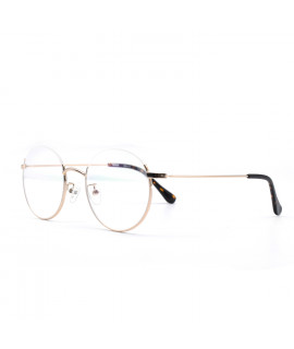 HKUCO Prescription Glasses Stylish Gold Color Metal Half Frame Eye Glasses (Multiple Lens Color Options)