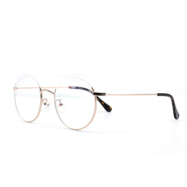 HKUCO Prescription Glasses Stylish Gold Color Metal Half Frame Eye Glasses (Multiple Lens Color Options)