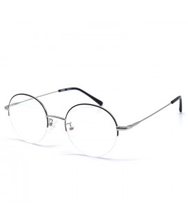 HKUCO Stylish Black Metal Half Frame Clear Lens Eye Glasses (LENSES: Demo lenses - Non Prescription)