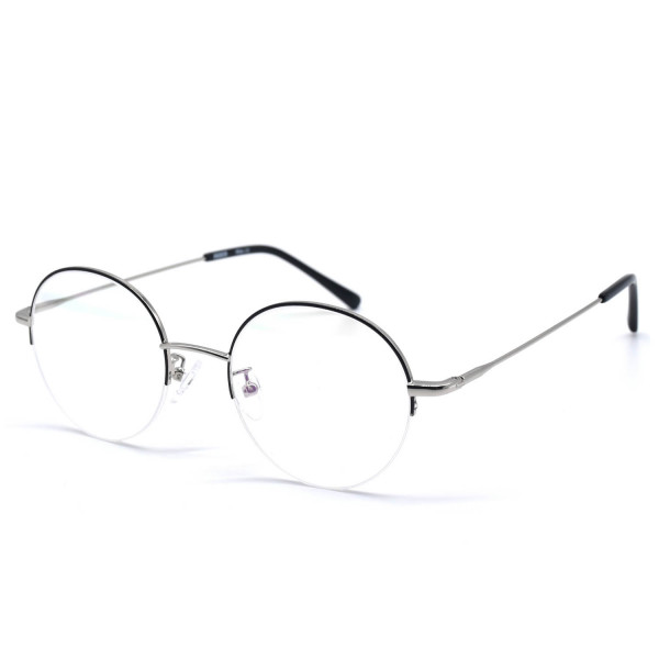 HKUCO Stylish Black Metal Half Frame Clear Lens Eye Glasses (Multiple Lens Color Options)