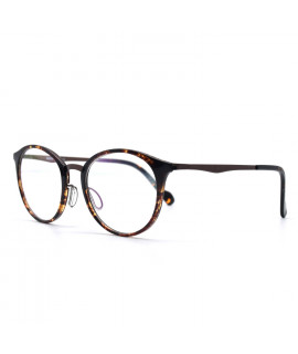 HKUCO Prescription Glasses Special Print Clear Lens Frame Glasses Circle Frame (Multiple Lens Color Options)