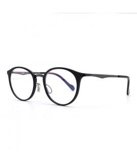 HKUCO Prescription Glasses Clear Lens Frame Glasses Black Circle Frame (Multiple Lens Color Options)