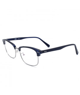 HKUCO Classic Half Frame Clear Lens Eyewear Dark Blue Frame Glasses (LENSES: Demo lenses - Non Prescription)