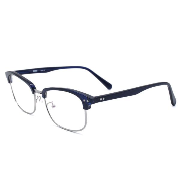 HKUCO Classic Half Frame Clear Lens Eyewear Dark Blue Frame Glasses (Multiple Lens Color Options)